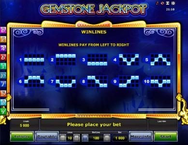 Gemstone Jackpot :: Payline Diagrams 1-10, Winlines pay from left to right.