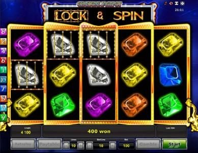 Gemstone Jackpot :: Lock and Spin feature triggers a 400 coin payout.