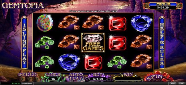 Planet 7 featuring the Video Slots Gemtopia with a maximum payout of $250,000