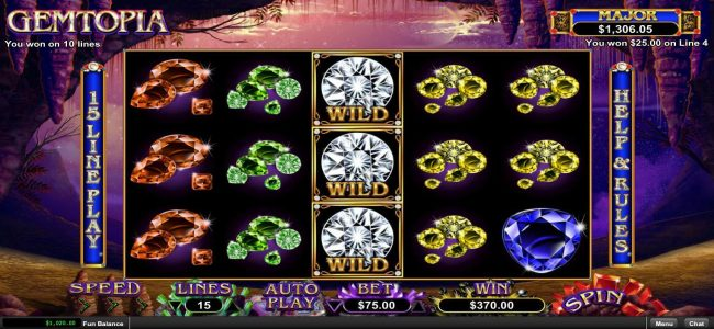 Mega 7's featuring the Video Slots Gemtopia with a maximum payout of $250,000