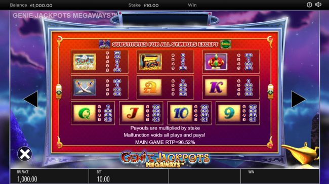 Norskespill featuring the Video Slots Genie Jackpots Megaways with a maximum payout of $250,000