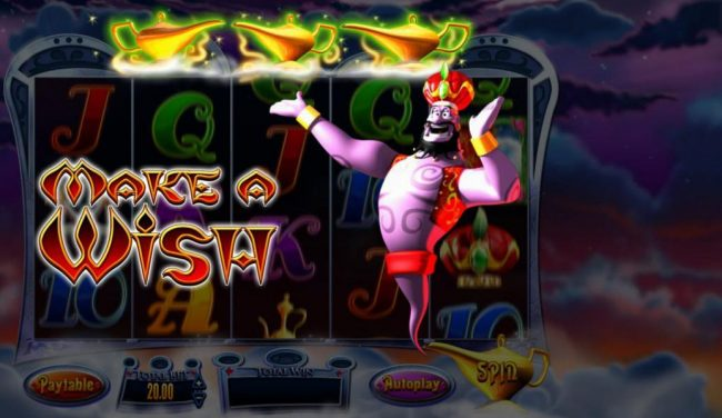 Clover Casino featuring the Video Slots Genie Jackpots with a maximum payout of Jackpot