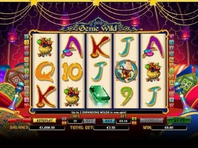 Enzo Casino featuring the Video Slots Genie Wild with a maximum payout of $10,000