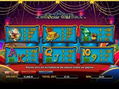 Casino Superlines featuring the Video Slots Genie Wild with a maximum payout of $10,000