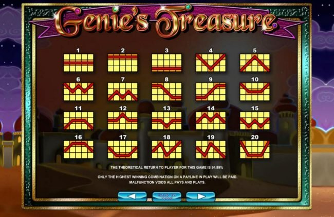 Play slots at Wildz Casino: Wildz Casino featuring the Video Slots Genie's Treasure with a maximum payout of $3,000