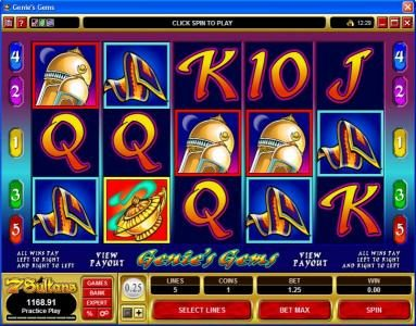 All Jackpots featuring the video-Slots Genie's Gems with a maximum payout of $50,000