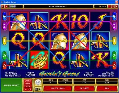 King Neptunes featuring the video-Slots Genie's Gems with a maximum payout of $50,000