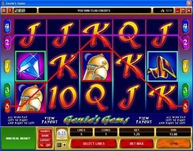 Blackjack Ballroom featuring the video-Slots Genie's Gems with a maximum payout of $50,000