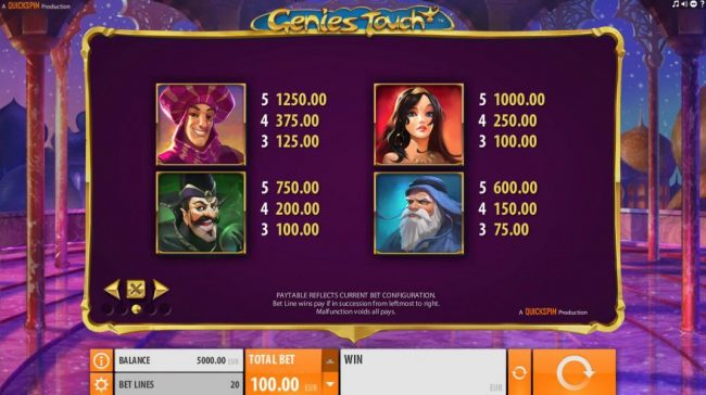 Cbet featuring the Video Slots Genie's Touch with a maximum payout of $1,250