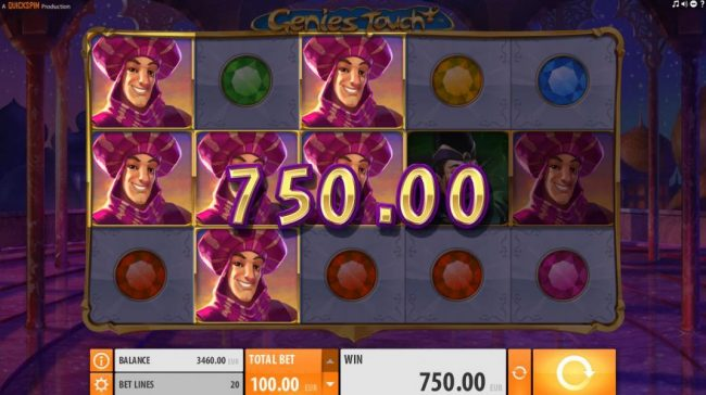 Amsterdam Casino featuring the Video Slots Genie's Touch with a maximum payout of $1,250