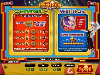Mission 2 Game featuring the Video Slots Genius Trivia with a maximum payout of Jackpot
