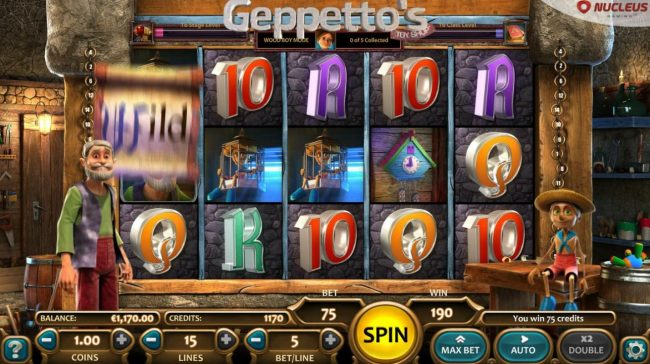 Big Spin featuring the Video Slots Geppetto's Toy Shop with a maximum payout of $12,500