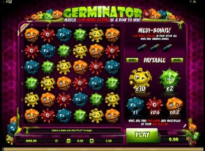 Tivoli featuring the Video Slots Germinator with a maximum payout of $720