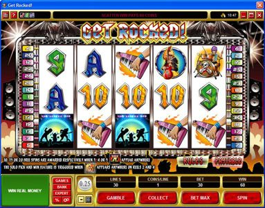 21 Jackpots featuring the Video Slots Get Rocked with a maximum payout of $31,250