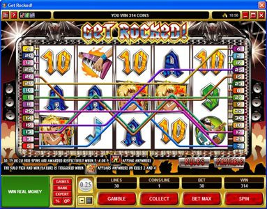 Ruby Fortune featuring the Video Slots Get Rocked with a maximum payout of $31,250
