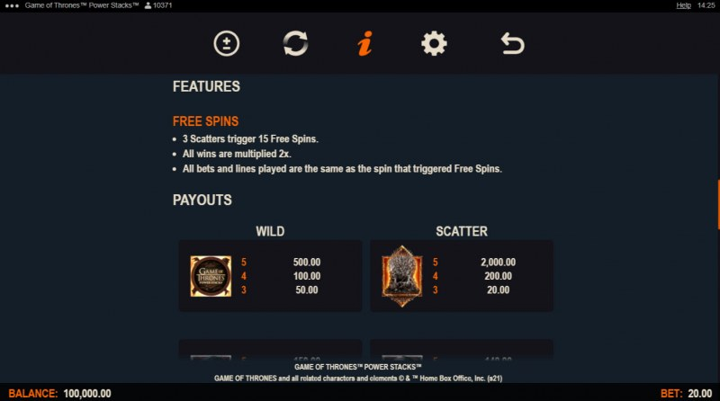 Game of Thrones Power Stacks :: Free Spin Feature Rules