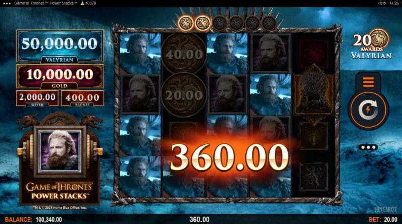 Game of Thrones Power Stacks :: Multiple winning combinations lead to a big win