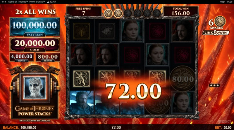 Game of Thrones Power Stacks :: A four of a kind win