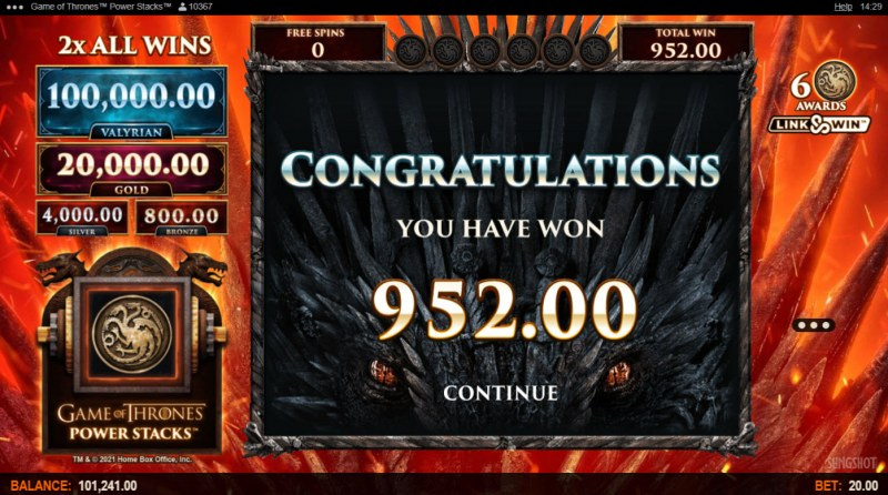 Game of Thrones Power Stacks :: Total Free Spins Payout