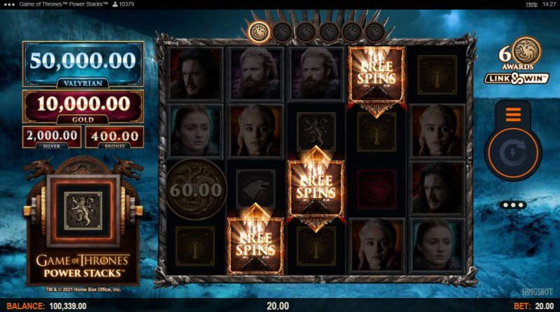 Game of Thrones Power Stacks :: Scatter symbols triggers the free spins bonus feature