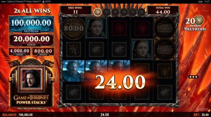 Game of Thrones Power Stacks :: Free Spins Game Board