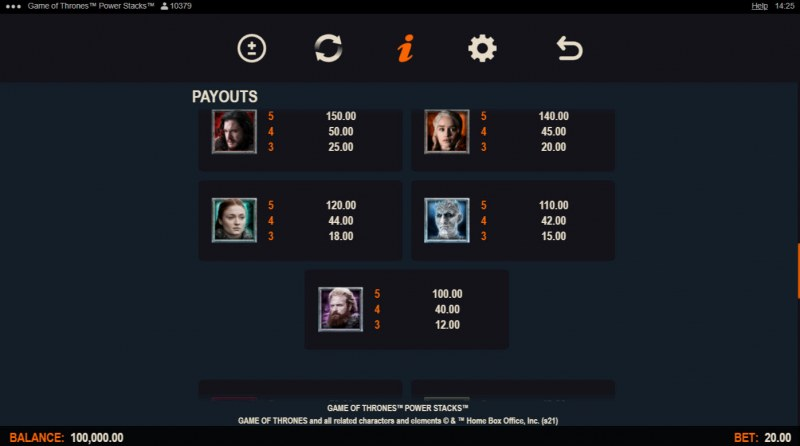 Game of Thrones Power Stacks :: Paytable - High Value Symbols