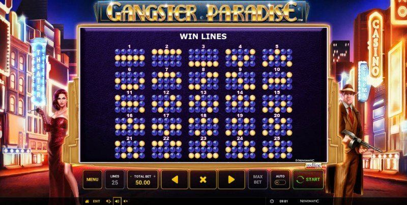 Gangster Paradise :: Paylines 1-25