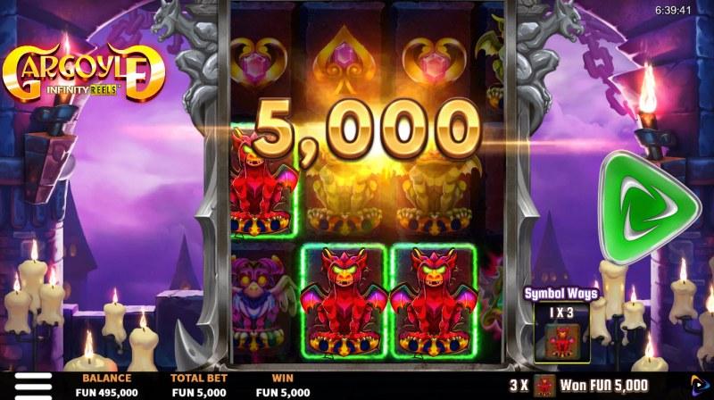 Gargoyle Infinity Reels :: A three of a kind win