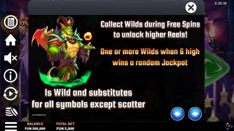 Gargoyle Infinity Reels :: Wild Symbol Rules