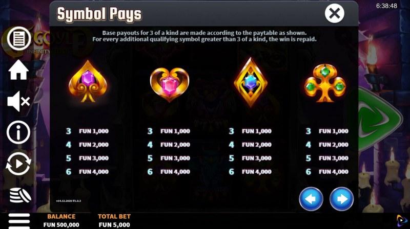 Gargoyle Infinity Reels :: Paytable - Low Value Symbols
