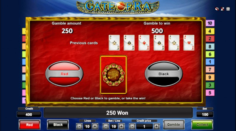 Gate of Ra :: Black or Red Gamble Feature