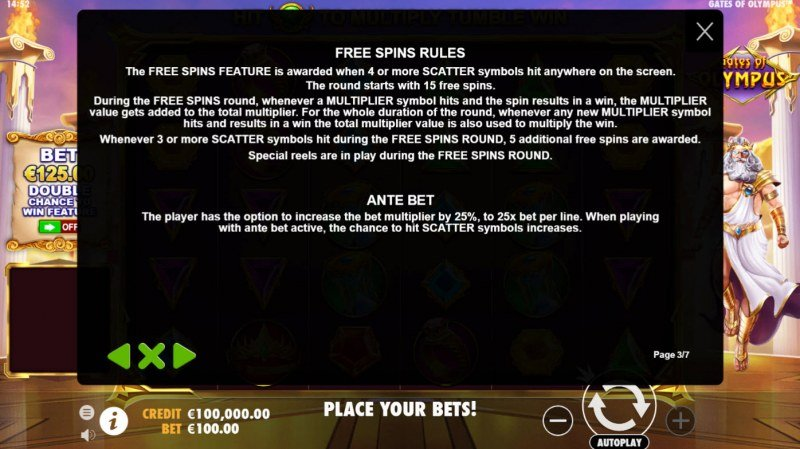 Gates of Olympus :: Free Spin Feature Rules