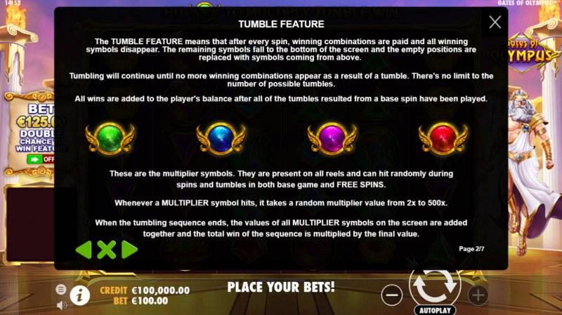 Gates of Olympus :: Tumbling Reel Feature