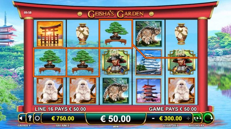Geisha's Garden :: A three of a kind win