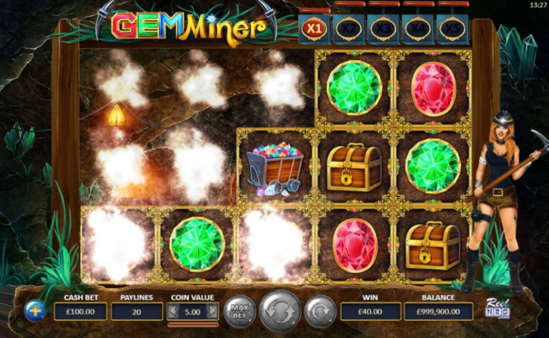 Gem Miner :: Winning symbols are removed from the reels and new symbols drop in place