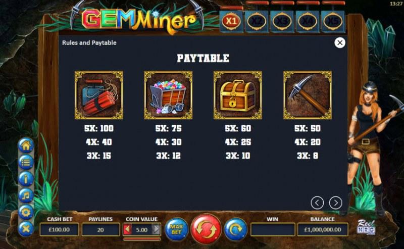 Gem Miner :: Paytable - High Value Symbols
