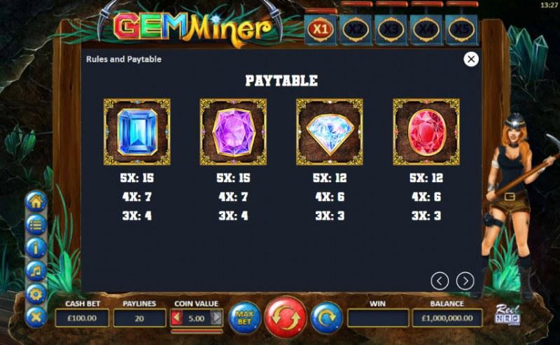 Gem Miner :: Paytable - Medium Value Symbols