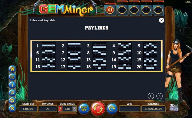 Gem Miner :: Paylines 1-20