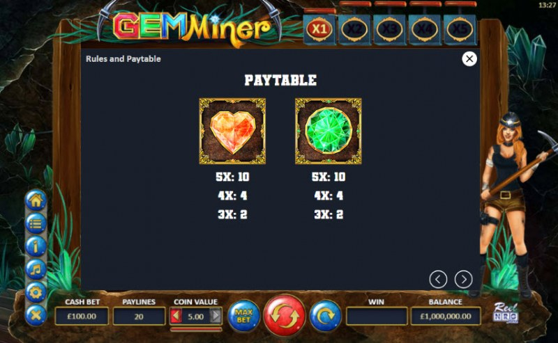 Gem Miner :: Paytable - Low Value Symbols