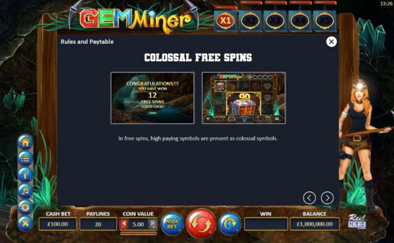 Gem Miner :: Colossal Free Spins