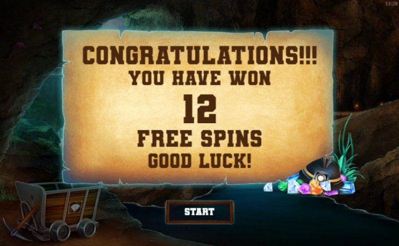 Gem Miner :: 12 Free Spins Awarded