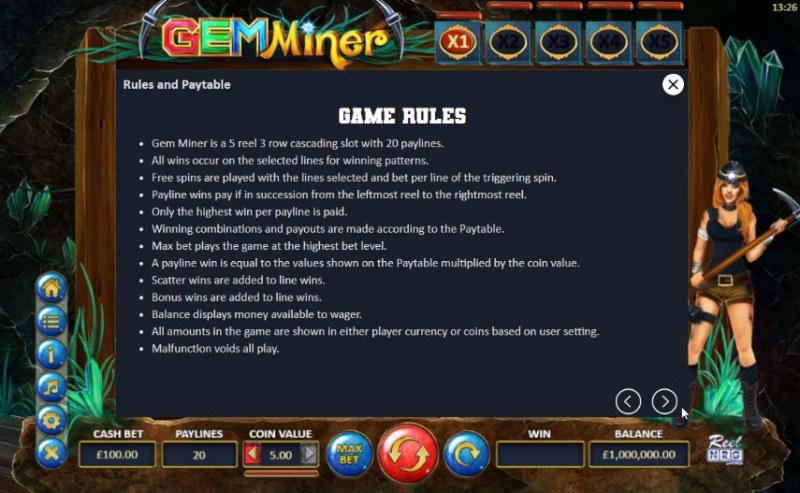 Gem Miner :: General Game Rules