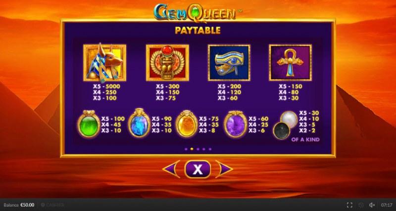 Gem Queen :: Paytable