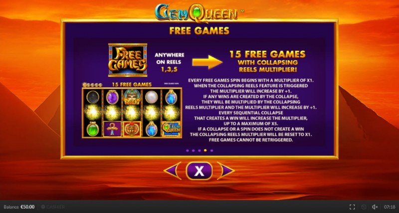 Gem Queen :: Free Spins Rules