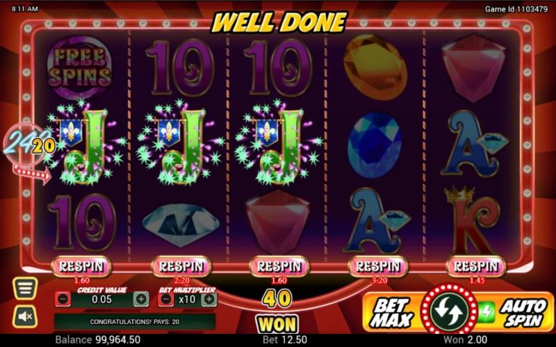 Gem Riches :: A three of a kind win