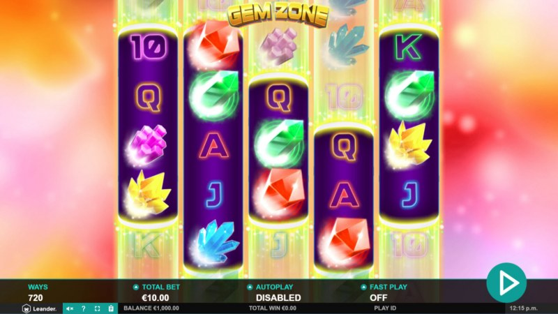 Play slots at Euro Slots: Euro Slots featuring the Video Slots Gem Zone with a maximum payout of $18,225