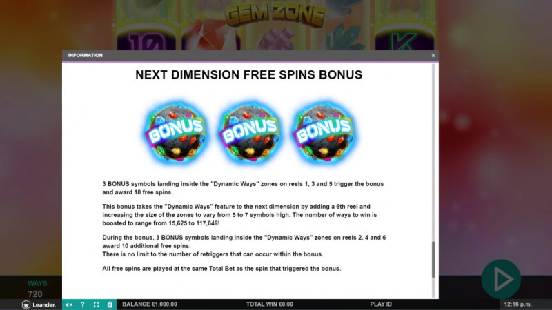 Gem Zone :: Free Spins Rules
