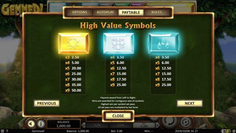 Gemmed! :: Paytable - High Value Symbols