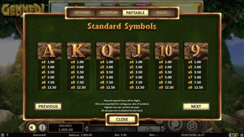 Gemmed! :: Paytable - Low Value Symbols