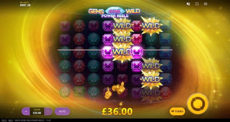Gems Gone Wild Power Reels :: Respin leads to multiple winning paylines